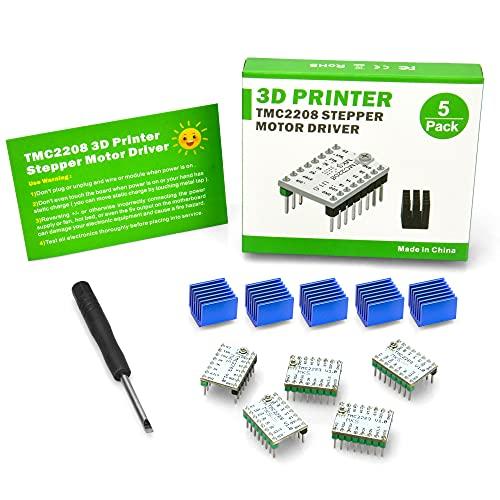 KOOKYE TMC2208 Stepper Motor Driver Stepstick Driver Module Carrier UART model with Heat Sink Screwdriver for 3D Printer Controller Boards (2208)