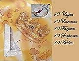 10 Cajas 40 cm x 40 cm, 10 Coronas, 10 Habas, 10 Tarjetas,10 Regalos Sorpresas para Roscón de Reyes