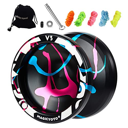 Responsive Yoyo V3, Aluminum Yoyo for Kids Beginner, Professional Yoyo with Unresponsive Ball Bearing for Advanced Yoyo Players + Removal Bearing Tool + Bag + 5 Replacement Yoyo Strings
