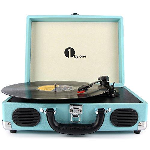 1 BY ONE Tragbarer Plattenspieler mit 3-Geschwindigkeiten Stereo Schallplattenspieler mit Lautsprechern, RCA-Ausgang, Kopfhöreranschluss, MP3, Handy Musik-Wiedergabe