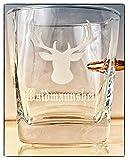 KolbergGlas Jäger Geschenk Glas mit realem Geschoß Cal.308 und Gravur -Waidmannsheil