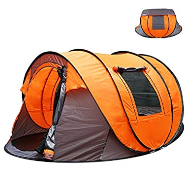 Oileus XL Instant Pop Up Tents for Camping 5-6 Person Tent with Sky-window Easyup-Fast Pitch & Fold with 14 Reinforced Steel Stakes & Carrying Bag Ideal for Family Backpacking Hiking