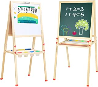 GEMEM Kids Art Easel with Paper Roll Magnetic Double Sided Chalkboard Adjustable Wood Easel Dry Erase Board with Accessories