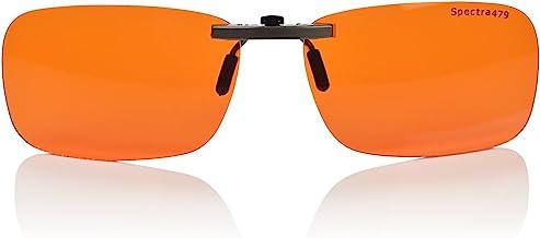 Clip-on Blue Blocking Amber Lenses for Sleep - BioRhythm Safe(TM) - Nighttime Eye Wear - Special Orange Tinted Lenses Help...