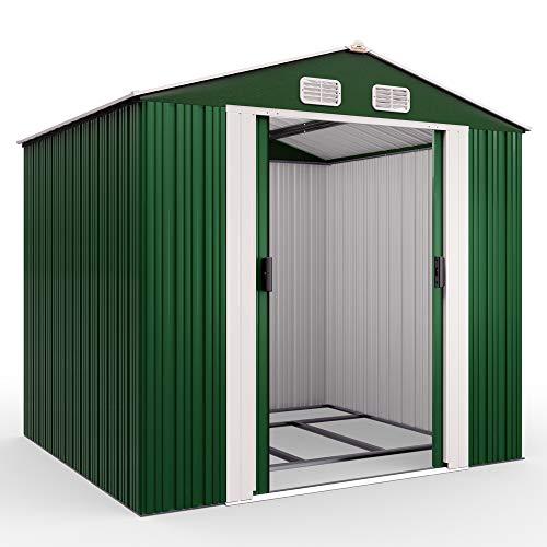 Deuba XXL Metall Gerätehaus 5m² mit Fundament 257x205x177,5cm Schiebetür Grün Geräteschuppen Gartenhaus 8,4m³