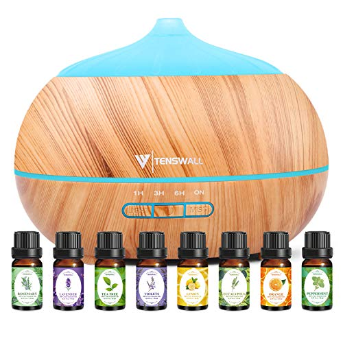 TENSWALL 500ml Aroma Oil Diffuser with 8Pcs*10ml Essential Oil Gift Set & Large Capacity Essential...