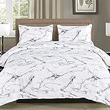 YMY Lightweight Microfiber Bedding Duvet Cover Set, Marble Pattern (White, Queen)