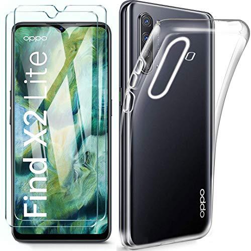 """HYMY Coque pour Oppo Find X2 Lite + 2 x Film Protection d'écran en Verre Trempé - Transparent Clear TPU Doux Silicone Etui Bumper Gel Housse pour Oppo Find X2 Lite (6.4"""") -Clear"""