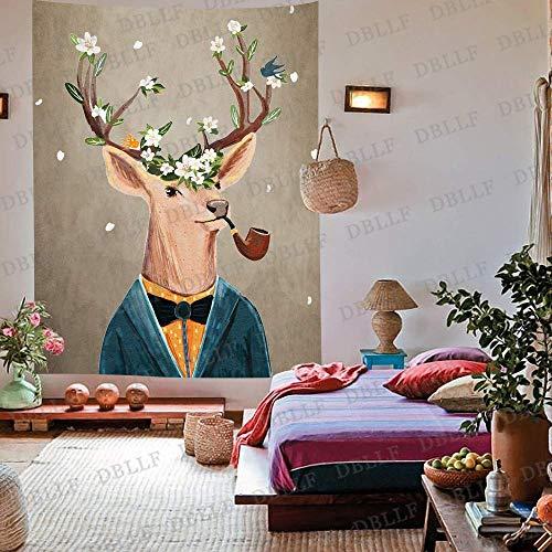IZOU Art Reh der Skelett Hirsch Kopf mit Blume auf dem Horn Wandkunst Tapisserie Wald Baum Tapisserie Natur Landschaft Tapisserie Wandbehang für Zimmer (203,2 x 152,4 cm)