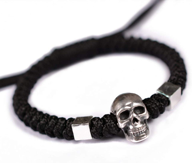 Bracelet Men,Black Personality Skull 999 Silver Bracelet Handmade Woven Men's Jewelry Jewelry Bracelet