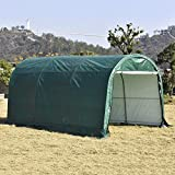 wonline Carport Auto Shelter 10x15x8ft Portable Outdoor Car Garage Storage Shed Canopy for Cars Green Round Top Style Green