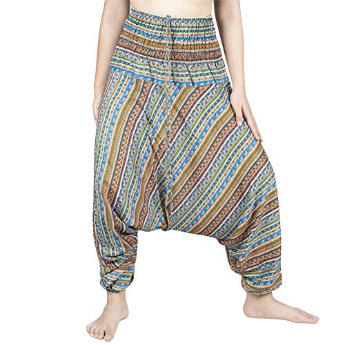 LOFBAZ Yoga Harem Pants for Women Boho Hippie Bohemian Clothing Womens Beach Indian Gypsy Clothes Genie Maternity Jumpsuit Waterdrops Orange S