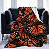 LIVE & LOVE Micro Fleece Blanket Throw Blanket Monarch Butterflies Print Ultra-Soft Fuzzy Light Weight Cozy Warm Fluffy Plush Blanket Microfiber for Bed Couch Chair Living Room Fall Winter Spring