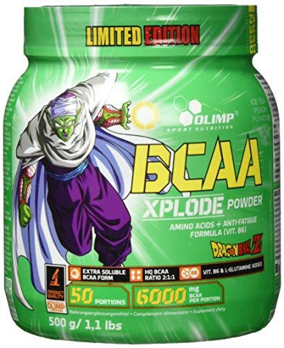 Olimp BCAA Xplode Powder Limited Edition Dragon Ball Z Package of 1 x 500g Amino Acids with L-Glutamine and Vitamin B6 - Powder - 50 Servings - Ice Tea Peach Flavor