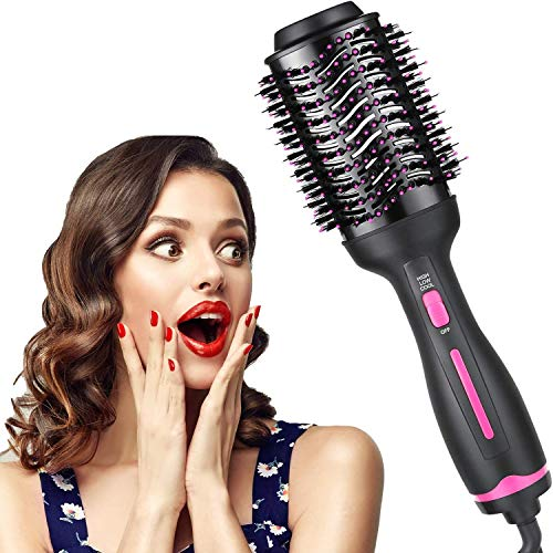 ZFITEI Hair Dryer Brush, Hot Air Brush for Fast Drying, Hair Dryer and Styler for Salon Results, Negative Ionic Curler Straightening Comb, 3 Temperatures, and Modes, Reduce Frizz and Static ( Pink )
