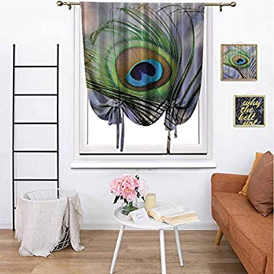 """cashewii Peacock Living Room Curtain Tie Up Curtain Full Light Blocking Drapes for Bedroom 23"""" x 64"""" Purple Green Brown Turquoise"""
