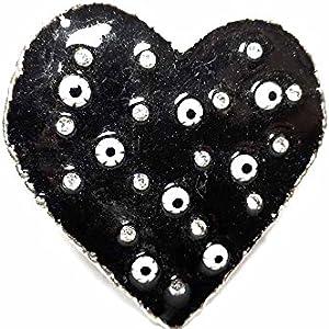 artigianale Hebilla para cinturón de 4 cm, esmalte negro con corazón, color plateado, hebillas de metal o piedras o brillantes o esmaltes o cristales muranos y 1 llavero BSS cc2