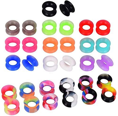 D&Min Jewelry, piercing dilatatori, tunnel in silicone, plug morbidi, set da 32 pezzi, colore: 12mm, cod. T011212
