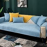 GZGLZDQ Funda de sofá de Chenilla para el sofá Antideslizante Cojín de sofá de Color sólido Funda de sofá para la Sala de Estar Toalla de sofá de Esquina (Color : Azul, Tamaño : 110x160cm)