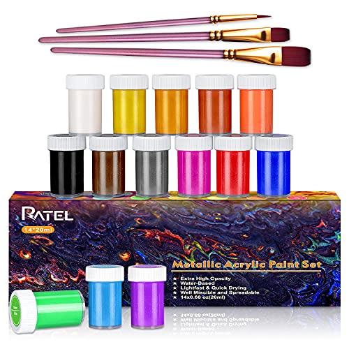 MetallischesAcrylfarbenset, RATEL Premium 17 Acryl-Farbe-Set Bunt mit 14 x 20 ml Pigment+3 Pinselstift-vibrierende Farben MetallicAcrylic Paint für Papier, Stein, Holz,...