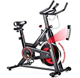 GYMAX Magnetic Exercise Bike, Indoor Stationary Cycling Bike, Noise-free Smooth Exercise Bike with LCD Monitor for Home Gym Cardio Workout (Black & Red)