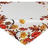 Raebel Tischdecke 85 x 85 cm Herbstlaub Creme weiß beige bunt Bedruckt Mitteldecke Herbst Tischdeko Herbstdeko