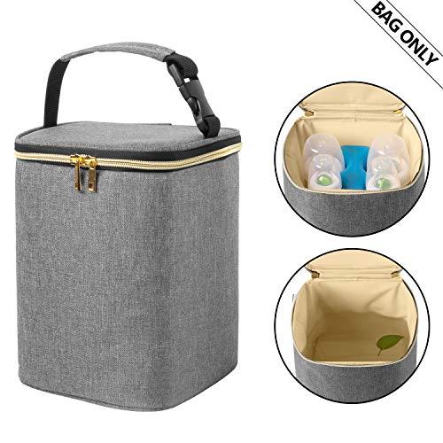 Teamoy Sac isotherme pour lait maternel pour lait frais, stocker et transporter, lait maternel, sac isotherme pour 4 biberons pour bébé (jusqu'à 270 ml) et sac de glace, gris