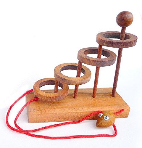Logica Spiele Art. Das Mäuschen Befreien - Seilpuzzle - Schwierigkeit 4/6 Extrem - Denkspiel - Knobelspiel - Geduldspiel aus Holz