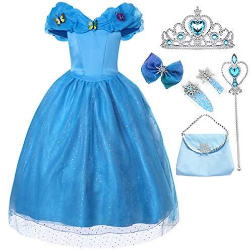 Fanessy Cenicienta Disfraces de Carnaval Vestido de Princesa para niños Niñas Cuento de Hadas Carnaval de Baile de Tul Largo Fiestas de cumpleaños de Halloween Fiestas de Cosplay Largos de Novia