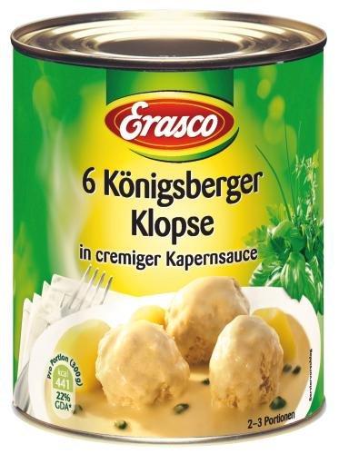Erasco 6 Königsberger Klopse in Kapernsauce, 6er Pack (6 x 800 g Dose)