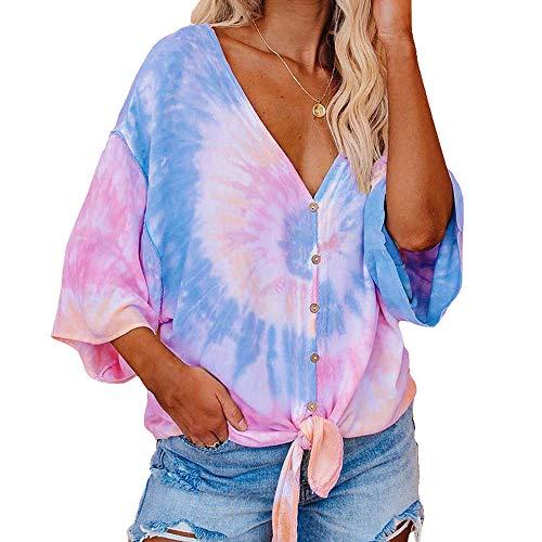T-Shirt Damen Tie-Dye Print Pullover Sieben-Punkt Fledermaus ÄRmel MitteläRmel Top
