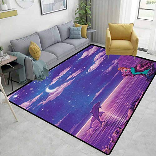 Amazing Deal YucouHome Mermaid Checkered Anti-Static Area Rugs, Cartoon Style Dolphins and Water Nym...