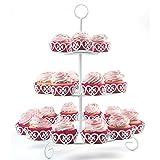 Melidoo Stand Base para 24 Cupcake Muffin postres 3-Niveles | Soporte en Metal Blanco, Vintage | Ideal para Fiestas de cumpleaños de niños, Bodas, bautizos, cumpleaños, Baby Showers