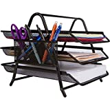 Oficina Organizador de escritorio–bandeja 'menos de 3minutos' Set Up–Bolígrafo con soporte–perfecto para escritorio archivo papel carta–Negro malla