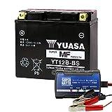 バイクバッテリー充電器+YT12B-BSセット■■台湾ユアサ(YUASA)【長寿命・保証書付】【日本語説明書付き】