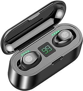 F9 Auriculares inalámbricos Bluetooth V5.0, Control táctil Inteligente de Voz HD, a Prueba de Sudor, Banco de energía USB de 2000 mAh para iPhone y Android.