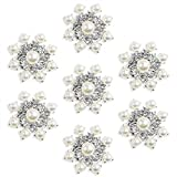 Silver Crystal Snowflake Pearl Rhinestone Applique Embellishments - YIMIL Flat Back Rhinestone Embellishments for Buttons Brooches Crafts Flower Hair Accessories, Pack of 24.