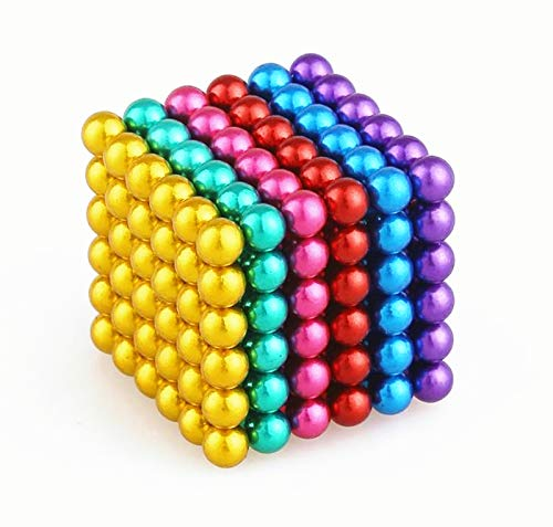 M-agnet Ball Gift Iron Ball Shape M-agnetic Fun Gadget Office Toys Creative Imagination Marble Bead Jigsaw Toy Puzzle Decompression Building Block (3Millimeter-216Pieces-Colorful)