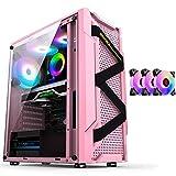 Caja Pc Gamer Estuche Para Juegos Con 3 Ventiladores RGB, Gabinete Para Computadora Torre Media ATX Listo Para Refrigeración Por Agua, Gabinete Para PC Con Panel Lateral De Vidrio Templado Para Juegos