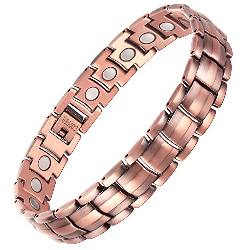 VITEROU Mens Magentic 99.95% Solid Pure Copper Therapy Bracelet with High Powered Healing Magnets for Arthritis Pain Relief,3500 Gauss,8.5 Inches