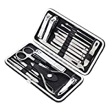 19 PCS Premium Manicure Set, AULLUA Nail Clippers, Professional Grooming Gift Kit, Pedicure Kit, Stainless Steel Facial, Cuticle, Nail Care Tools with Luxurious Portable Travel Case, for Women & Men