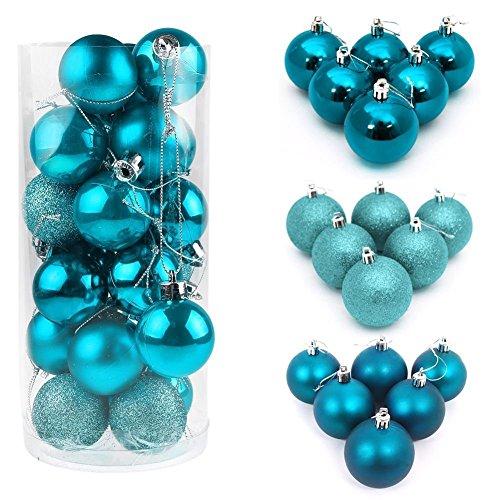 I LOVE DIY 24/48Pcs Boules de Noël en Plastique pour la Décoration Fete Noël (24Pcs - 3cm, Bleu lac)