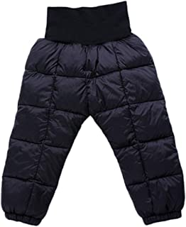 Voberry Insulated Snow Pant for Baby Girls Boys, Kids Soild Color Winter Warm Elastic High Waisted Compression Long Trousers Lightweight Windproof Down Pants Ski Bib Pants