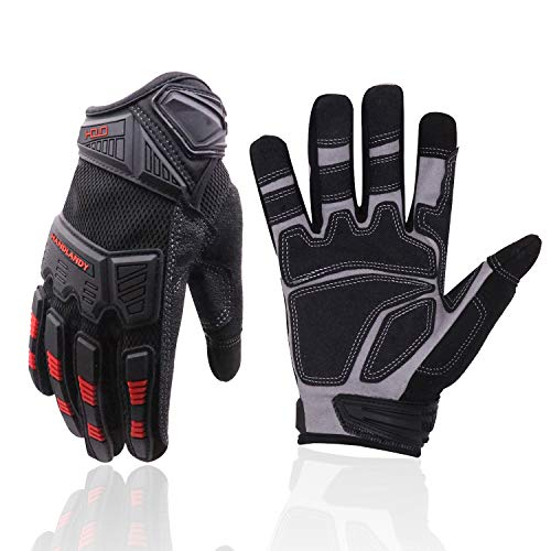 HANDLANDY Heavy Duty Work Gloves Men, Touchscreen TPR Impact Reducing Work Gloves, Non-Slip Breathable Mechanics Gloves (Large)