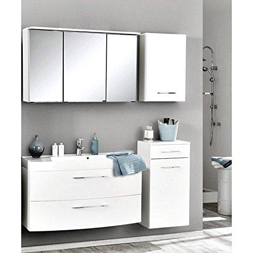 Badmöbel Set Hochglanz weiß (4 teilig) Waschtisch Badezimmer Badezimmermöbel LED Spiegelschrank