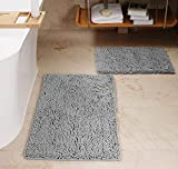 BathroomRugs Sets Luxury Chenille 2 PiecesExtra Soft and Thick Non-Slip Rapid Water Absorbent Machine WashableBath Mats,15x23/20x32,Grey