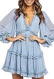 Bdcoco Womens Long Sleeve Floral Print Mini Dress V...