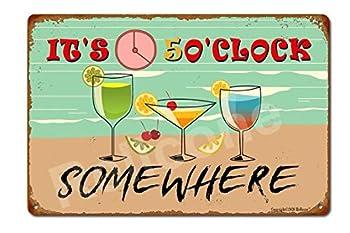 It s 5 o clock Somewhere 8x12 Vintage Retro Funny Beer Signs Man Cave Bar BBQ Garage Cafe Restaurant Wall Art Decor Metal Tin Sign