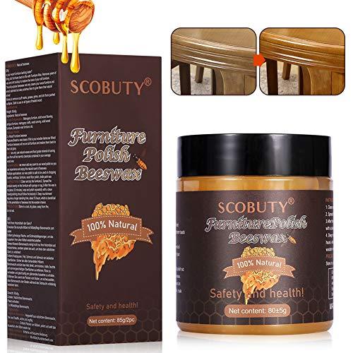 Möbelpflege Bienenwachs, Natürliche Holzpflege Bienenwachs Wasserdicht Abriebfest zur Möbelpflege & Holzschutz von Holzmöbeln 85g, 2pc