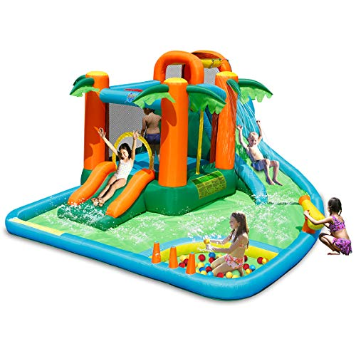 Costzon Inflatable Water Park, 7 in 1 Jungle Castle Bouncer w/ Two Slides, Climbing Wall, Basketball Rim, Splash Pool, Water Cannon, Including Repairing Kit, Stake, Ocean Ball (Without Blower)
